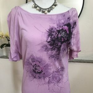 Tops - Purple Off The Shoulder Blouse butterfly sleeves